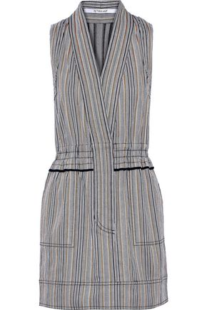 DEREK LAM 10 CROSBY Striped cotton-blend twill mini dress