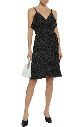 DEREK LAM 10 CROSBY Ruffled printed silk-jacquard wrap dress