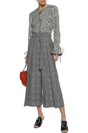 DEREK LAM 10 CROSBY Picot-trimmed floral-print fil coupé silk-blend blouse