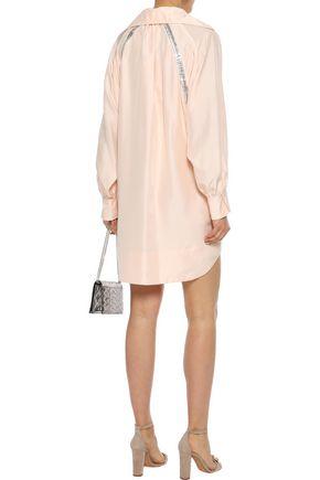 CHLOÉ Metallic-trimmed washed-silk mini dress
