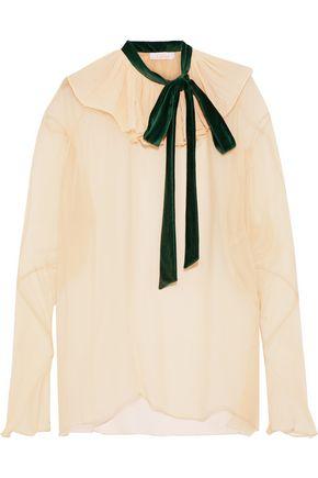 CHLOÉ Pussy-bow ruffled silk-gauze blouse