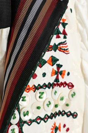 CHLOÉ Paneled grosgrain-trimmed embellished jacquard tunic