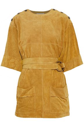 CHLOÉ Belted button-detailed suede top
