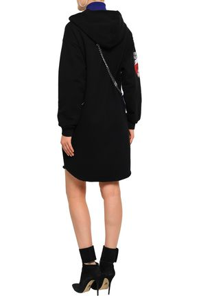 GIVENCHY Printed French cotton-terry hooded mini dress