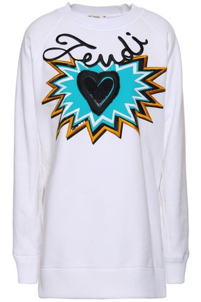 FENDI Embellished printed cotton-fleece sweatshirt