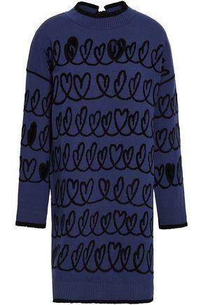 FENDI Cutout jacquard-knit mini dress