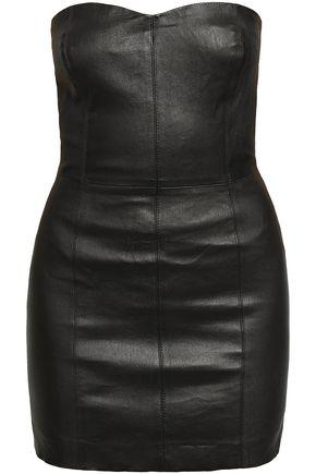 SPRWMN Strapless leather mini dress