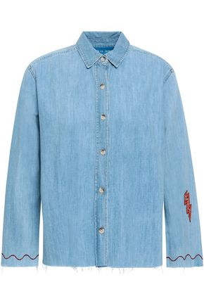 M.I.H JEANS Appliquéd faded denim shirt