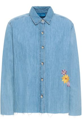 M.I.H JEANS Frayed embroidered denim shirt