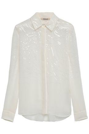 ROBERTO CAVALLI Sequin-embellished silk-voile shirt