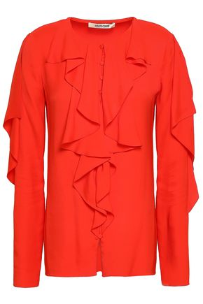 ROBERTO CAVALLI Ruffled silk-blend blouse