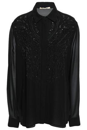 ROBERTO CAVALLI Embellished silk-crepe shirt
