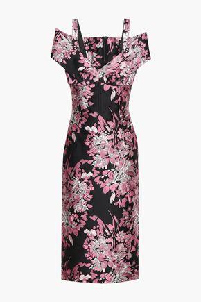 DOLCE & GABBANA Cold-shoulder metallic floral-jacquard midi dress
