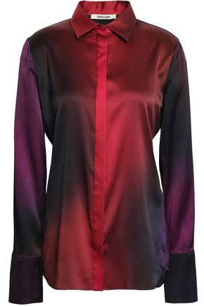ROBERTO CAVALLI Dégradé silk-blend satin shirt