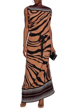 ROBERTO CAVALLI Paneled stretch-knit and zebra-print silk-crepe maxi dress