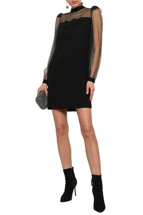 GIVENCHY Studded tulle and crepe de chine mini dress