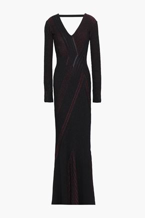 ROBERTO CAVALLI Open-back fluted metallic ribbed-knit gown