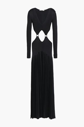 ROBERTO CAVALLI Cutout pleated ribbed-knit gown