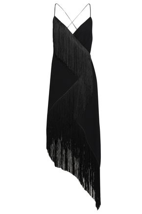 GIVENCHY Asymmetric fringed wool-crepe wrap dress