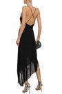 GIVENCHY Asymmetric fringed wool-crepe wrap dress