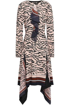 ROBERTO CAVALLI Draped printed crepe dress