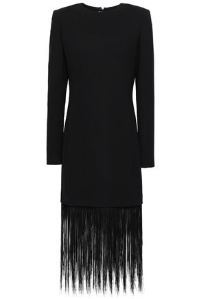 GIVENCHY Fringed wool-crepe midi dress