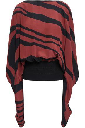 ROBERTO CAVALLI Draped zebra-print silk crepe de chine blouse