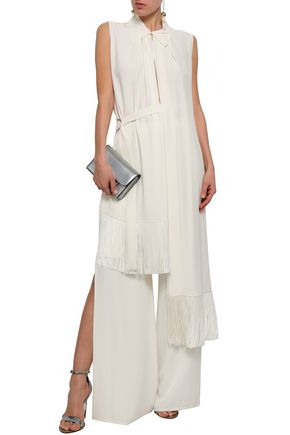 GIVENCHY Asymmetric fringed silk crepe de chine top