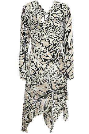 ROBERTO CAVALLI Asymmetric open-back leopard-print silk crepe de chine mini dress