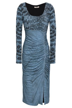 ROBERTO CAVALLI Ruched printed stretch-jersey dress