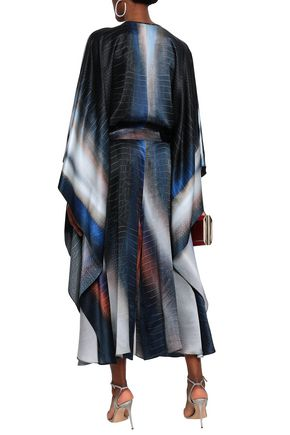 ROBERTO CAVALLI Draped printed silk-satin jumpsuit