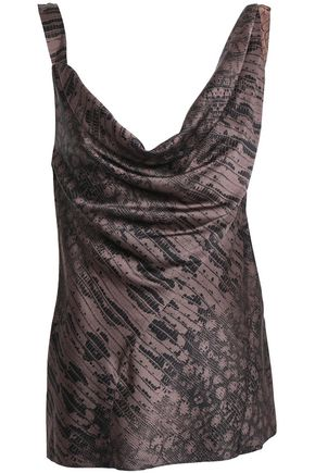 ROBERTO CAVALLI Draped snake-print silk-blend satin top