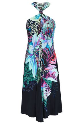 ROBERTO CAVALLI Gathered floral-print stretch-jersey dress