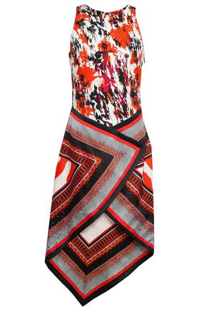 ROBERTO CAVALLI Asymmetric printed stretch-crepe and silk-satin dress