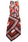 ROBERTO CAVALLI Asymmetric printed stretch-crepe and silk-satin dress