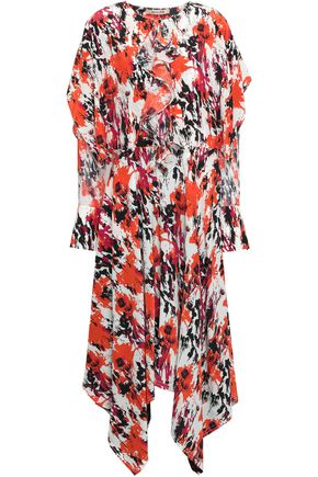 ROBERTO CAVALLI Draped printed silk crepe de chine midi dress