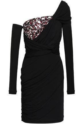 ROBERTO CAVALLI One-shoulder sequined crepe-paneled stretch-jersey mini dress