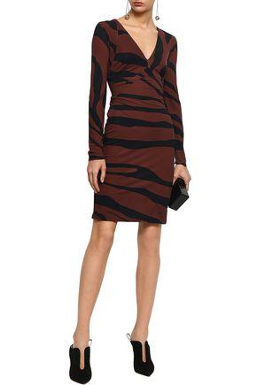 ROBERTO CAVALLI Zebra-print stretch-jersey mini dress