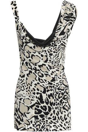 ROBERTO CAVALLI Draped leopard-print silk crepe de chine top