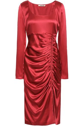ROBERTO CAVALLI Ruched silk-blend satin dress