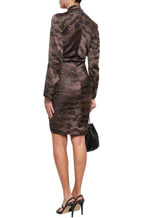 ROBERTO CAVALLI Ruched snake-print silk-blend satin mini shirt dress