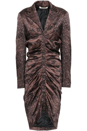 ROBERTO CAVALLI Ruched snake-print silk-blend satin mini shirt dress