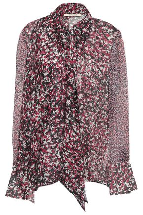 ROBERTO CAVALLI Tie-neck printed silk-georgette and voile blouse