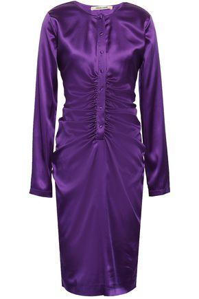 ROBERTO CAVALLI Ruched silk-blend satin dress