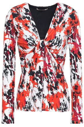 ROBERTO CAVALLI Twist-front printed stretch-jersey top