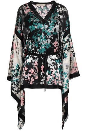 ROBERTO CAVALLI Draped belted floral-print silk-satin blouse