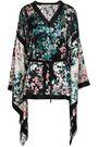 ROBERTO CAVALLI Draped belted floral-print silk-satin blouse