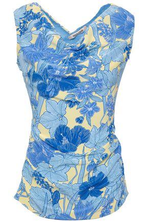 ROBERTO CAVALLI Cutout draped floral-print silk crepe de chine top