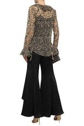 ROBERTO CAVALLI Metallic embroidered tulle blouse