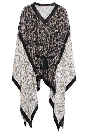 ROBERTO CAVALLI Draped leopard-print silk-georgette blouse